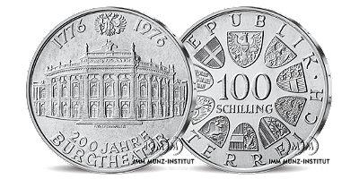 100 schilling gedenkm nze 200 jahre burgtheater 100. Black Bedroom Furniture Sets. Home Design Ideas